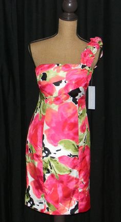 NWT One Shoulder Dress Floral Dress by London Times Retail $129 #LondonTimes #OneShoulder