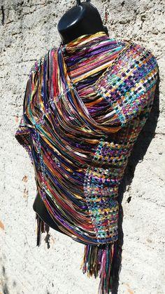 Handweaving ribbon shawl. By Pancho Pinsag.