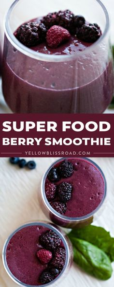 Jump-start your day with this Super Food Berry Smoothie! Full of vitamins, fiber, and antioxidants, it's nutrition at its best! via @yellowblissroad