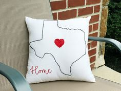 State Pillow Texas State Pillow Home is Where the Heart is