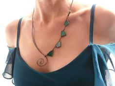 Statement stained glass and copper wire necklace.