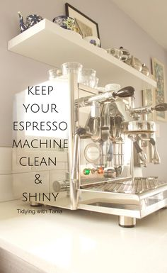 Sharing how to clean your espresso machine , including tips on making the stainless steel shiny . Expresso Coffee, Espresso Coffee Machine, Clean And Shiny, White Sheets, Drip Tray, Diy Cleaners, Pantry Organization, Cleaning Kit, Natural Cleaning Products