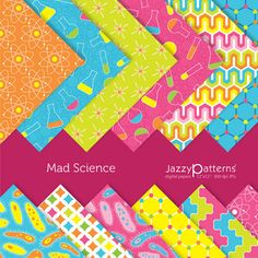 Mad Science digital paper pack for scrapbooking by JazzyPatterns, $5.50