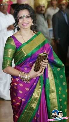 Colourful silk saree. Indian wedding fashion.