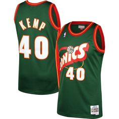 ebc5de601a5b Men s Seattle SuperSonics Shawn Kemp Mitchell   Ness Green 1995-96 Hardwood  Classics Swingman Jersey