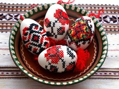 The eggs are cross-stitched by Inna Forostyuk, a crafter from Ukraine. The patterns on the eggs are very typical for Ukrainian embroidery, like ceremonial towel, shirts, blouses etc.