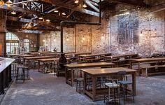 Interior of Houston beer hall.