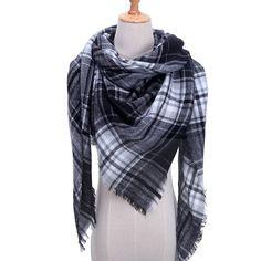2019 new winter women scarf soft thick neck rings fashion plaid cashmere shawls wraps lady pashmina bandana blanket foulard Pashmina Scarf, Plaid Scarf, Cowl Scarf, Tartan, Plaid Fashion, Style Fashion, Fashion Scarves, Spring Scarves, Wrap Sweater