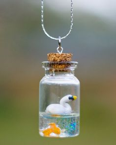 Mini Swan and Fish in a Bottle Necklace - polymer clay resin cute animal glass bottle necklace on Etsy, $15.00