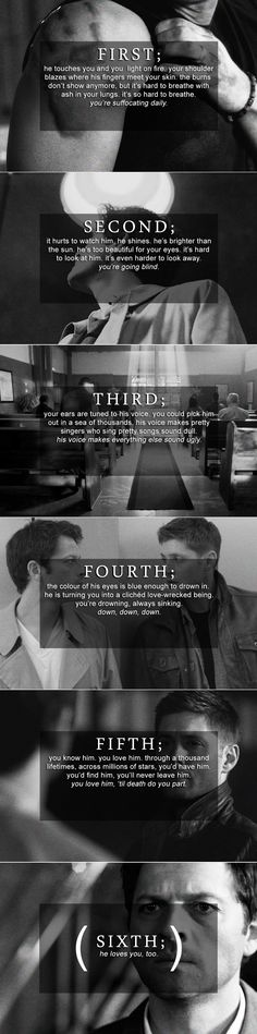 Dean and Castiel: First through sixth #spn #destiel