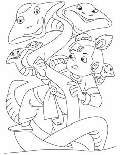 Lord Krishna The Slayer Of Kalia Naag Coloring Pages Sketch Coloring Page