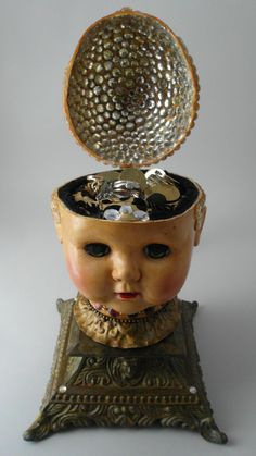 Jewelry/Trinket Box made with a doll head.