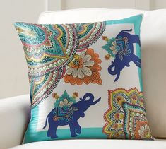 Elephant Scarf Print Pillow Cover | Pottery Barn