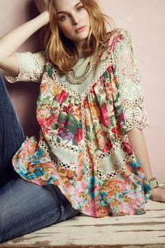 ☯☮ॐ American Hippie Bohemian Style ~ Boho Frangipani Peasant Top, Anthropologie Boho Chic, Hippie Chic, Bohemian Style, Hippie Bohemian, Bohemian Print, Shabby Chic, Mode Style, Style Me, Estilo Hippie