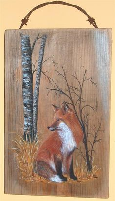 Fox Painting, Pallet Painting, Painting On Wood, Wood Paintings, Wood Pallet Art, Reclaimed Wood Art, Country Paintings, Fox Art, Wildlife Art