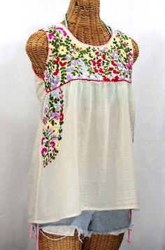 """La Sirena"" Embroidered Mexican Style Peasant Top -Off White"