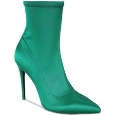 Aldo Cirelle Stiletto Stretch Booties (2 040 UAH) ❤ liked on Polyvore featuring shoes, boots, ankle booties, green, stiletto booties, pointed toe high heels stilettos, green boots, pointed toe stilettos and stiletto boots