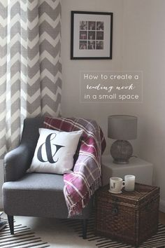Just what I need for my book corner! A nice, elegant chair, a comfy cushion, and some light.... I would add a touch of color and a foot rest.