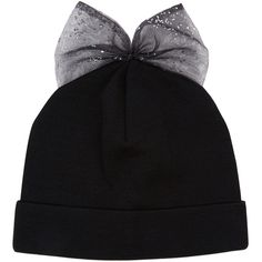 bow embroidered beanie hat - Black Federica Moretti