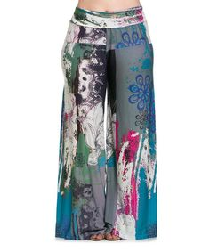 Loving this Teal & Gray Floral Art Palazzo Pants - Plus on #zulily! #zulilyfinds