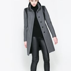 Zara combined wool coat in grey marl Great quality and sophisticated fit. In excellent condition. Barely worn. 60% wool,36% polyester,4% other fibers. Zara Jackets & Coats