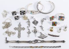 Lot 545: Sterling Silver Jewelry Assortment; Including two cuff (one signed MAC) and two chain bracelets, two rings, three pairs of pierced earrings, twelve pendants and three necklaces