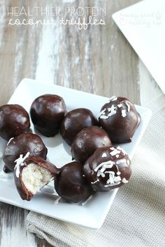 Healthier Protein Coconut Truffles. Totally lightened up with a boost of protein and a ton of flavor! | www.happyfoodhealthylife.com