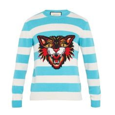 Gucci Angry Cat-intarsia striped wool sweater ($1,100) ❤ liked on Polyvore featuring men's fashion, men's clothing, men's sweaters, white multi, mens striped sweater, men's wool crew neck sweaters, mens slim fit sweater, mens woolen sweaters and mens cat sweater