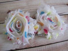 Two Shabby Chic Hair Clips by JillysUniqueBowtique on Etsy, $5.00