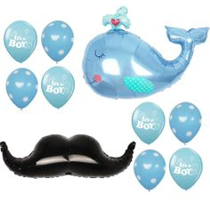 Baby Shower Party Supplies It's a Boy Foil Balloons Dots Mustache Shape Anagram