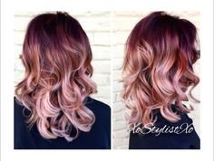 Beautiful brunette / burgundy / rose gold / blonde ombré hair cut / hair color #hairstyles #ombre