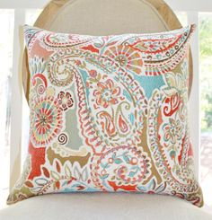 Moroccan Turquoise Orange Coral Pillow  Red Aqua by MotifPillows, $36.00