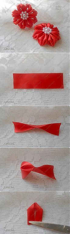 MK petals and version of its application Ribbon Art, Diy Ribbon, Ribbon Crafts, Flower Crafts, Ribbon Bows, Kanzashi Tutorial, Ribbon Flower Tutorial, Handmade Flowers, Diy Flowers