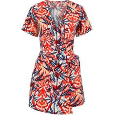 97d25068995 Yoins Floral Print Playsuits With Wrap Front ( 21) ❤ liked on Polyvore  featuring jumpsuits
