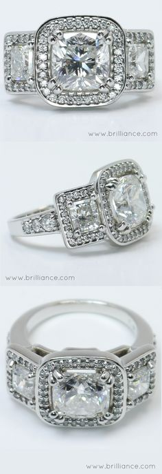 Brilliance.com's Custom Halo Ring with Cushion Cut Center Stone. The cushion diamonds offer a unique balance of modern beauty and antique style. Celebrity-inspired ring design with a twist to suit personal flair.