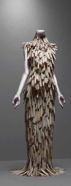 """Alexander McQueen's Dress  """"VOSS"""", spring/summer 2001  Razor-clam shells stripped and varnished."""