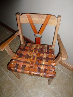 Upcycled Chair Leather Chair One of a Kind Chair Hand Crafted Furniture Antique Furniture Refurbished Furniture, Repurposed Furniture, Antique Furniture, Cool Furniture, Diy Leather Belt, Recycled Leather, Leather Craft, Time Out Chair, Old Chairs