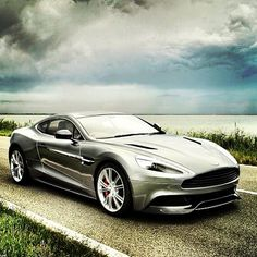 Sublime 2013 Aston Martin Vanquish Aston Martin Vanquish (2013) Street Scene Car Art Poster Print on 10 mil Archival Satin Paper SkyFall Silver Front Side Parked View
