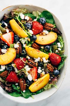 Summer Fruit Salad with Peach Poppy Seed Dressing – Light and healthy salad served with a ripe peach dressing ready in five minutes or less! | jessicagavin.com