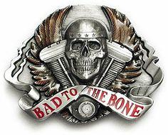 BAD TO THE BONE Belt Buckle Rogue Biker Skull Wings http://bikeraa.com/bad-to-the-bone-belt-buckle-rogue-biker-skull-wings/