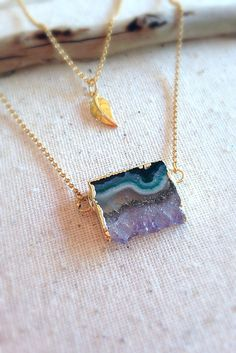 Amethyst Slice Necklace Amethyst Stalactite Necklace by AinaKai