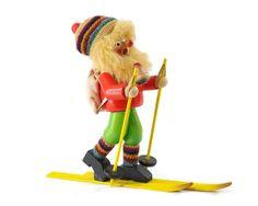Vintage Skier German Smoker, Steinbach, Erzgebirge, Wooden Incense Smoker