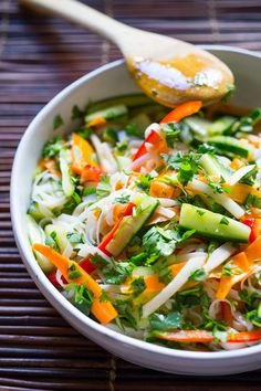 A delicious healthy recipe for Vietnamese Rice Noodle Salad with flavorful pickled vegetables. Add shrimp or keep it vegetarian!
