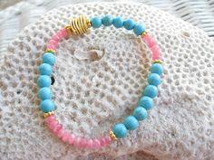 Pink Tourmaline and Turquoise Beaded by NuryMenesesJewelry on Etsy, $34.00