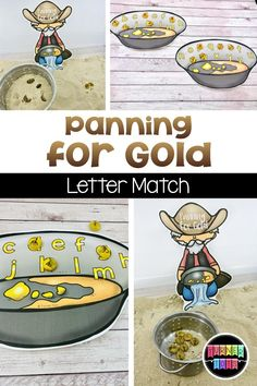 Sift through the sand like a prospector to find gold nuggets and match them to the pan with the matching letter. Perfect Wild West activity for your preschoolers. for preschool for toddlers Wild West Activities, Preschool Learning Activities, Preschool Themes, Preschool Activities, Preschool Programs, Children Activities, Cowboy Theme, Western Theme, Western Cowboy