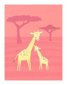 two giraffes. african animals in yellow on pink  8.5 by lulufroot, $20.00