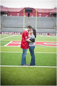 engagement photos at Rutgers Stadium