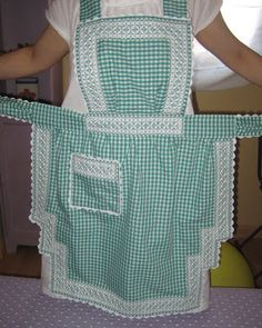 Vintage Embroidery, Embroidery Stitches, Embroidery Patterns, Flirty Aprons, Chicken Scratch Embroidery, Apron Designs, Costume, Gingham, Needlework