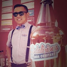 This is one cool soda jerk cat daddy-o. #sodajerk #sodalirious #1950s #localbusiness #coolshades #bowtie