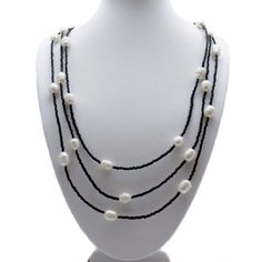 Stylish pearl and bead necklace, which can be worn single strand, triple looped as shown. Choose between either Turquoise or Black Lava Beads. Long Pearl Necklaces, Pearl Jewelry, Pearl Earrings, Lava, Cufflinks, Beaded Necklace, Pendants, Brooch, Turquoise
